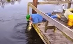 Guy Bags Huge Bass Using Only His Hand