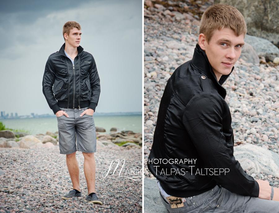 mees mereääres, fotograafiga õues
