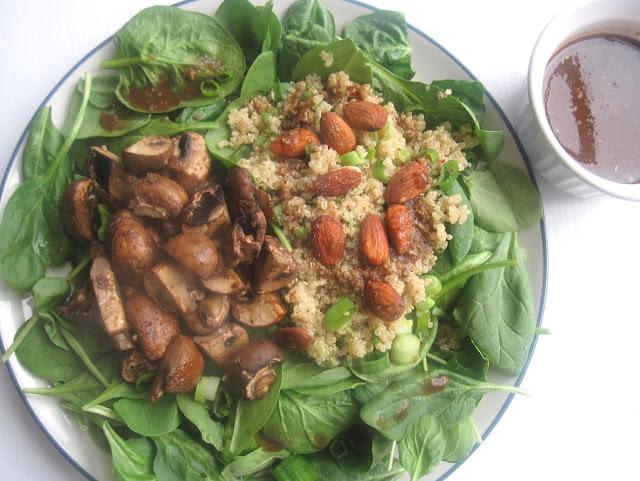 Roasted Mushroom and Quinoa Spinach Salad