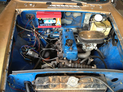 MGB Engine Bay - now with built in rubber glove dispenser for oil cleanup!!