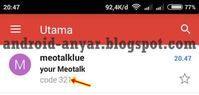 kode verifikasi meotalk dikirim ke spam email