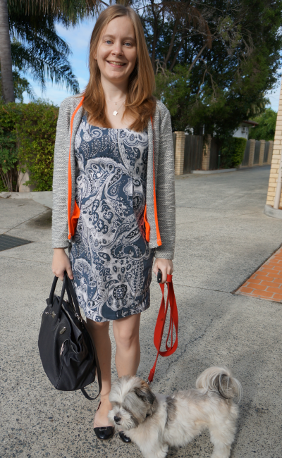French Connection blue paisley print dress asos grey neon boucle blazer
