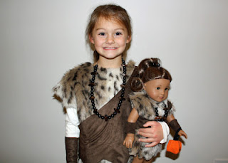 All set for Halloween! Tessa and Kanani as ancient cave dwellers.