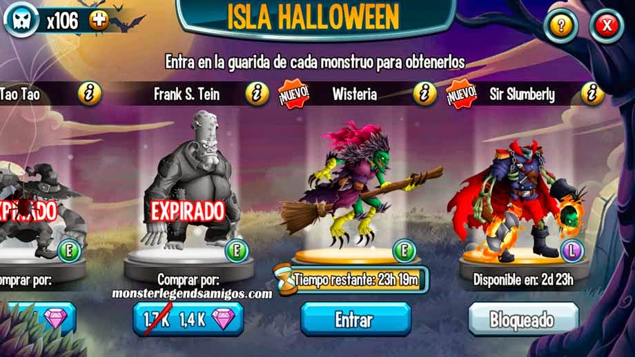 imagen de wisteria de la isla halloween de monster legends