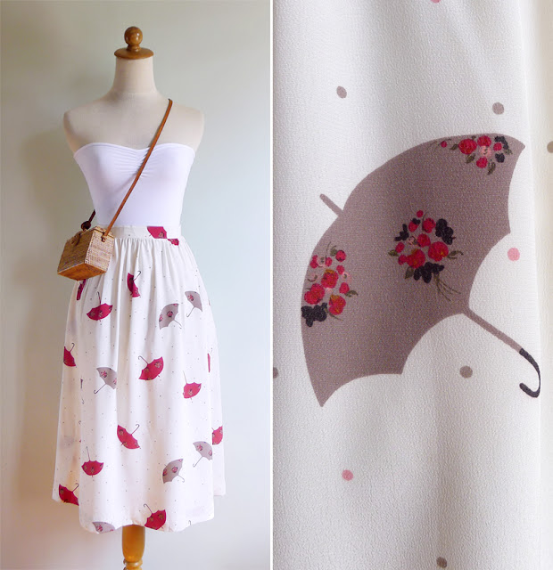vintage floral umbrella print skirt xs s