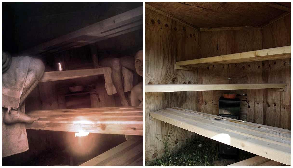 Внутри на разных уровнях расположены деревянные скамейки