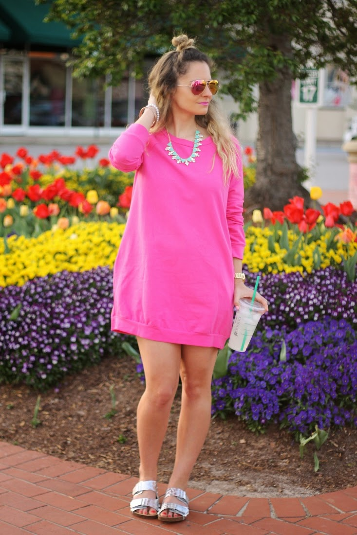 Hot Pink Sweatshirt Dress with Silver Metallic Sandals