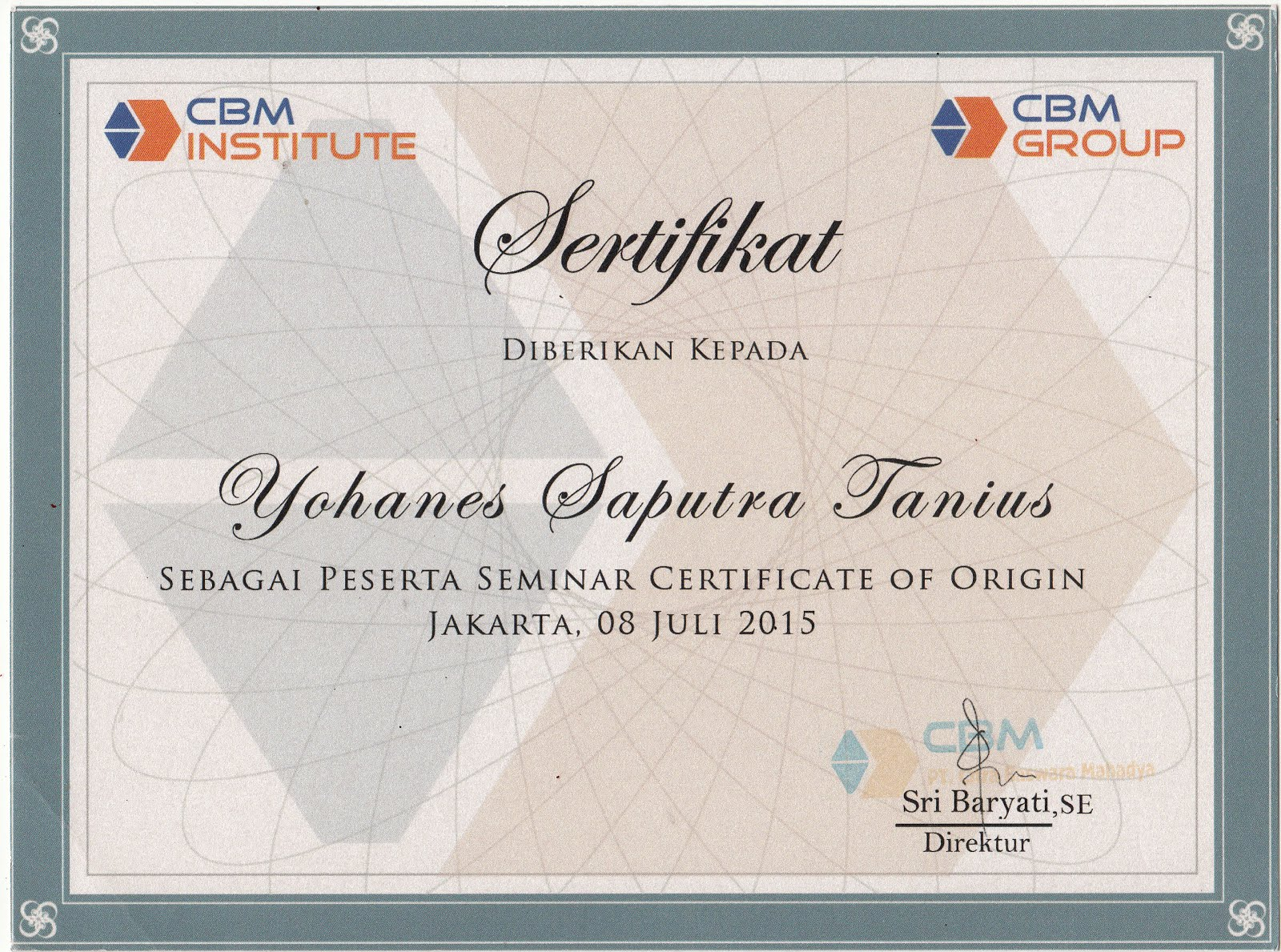 CERTIFICATE COO