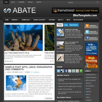 Abate blog template. magazine blogger template style. magazine style template blogspot. 3 column blogspot template