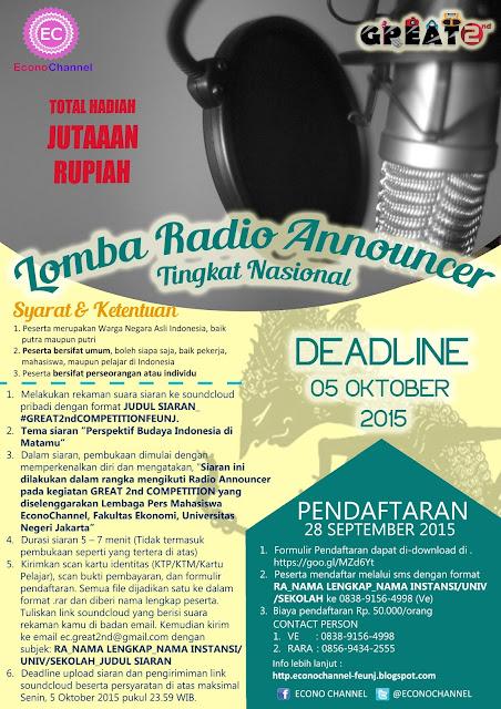 Info lomba radio announcer