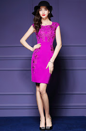 Best Deal Sleeveless Pink/Sapphire Blue Floral Embroidery OL Dress