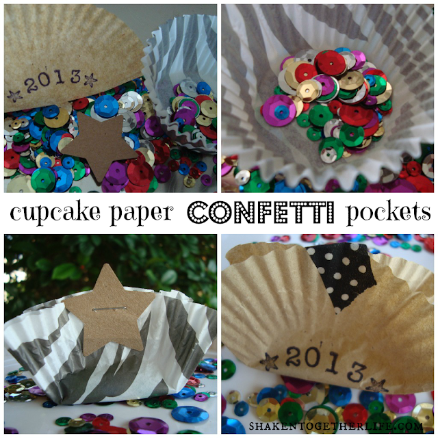 easy New Years decor - cupcake paper confetti pockets