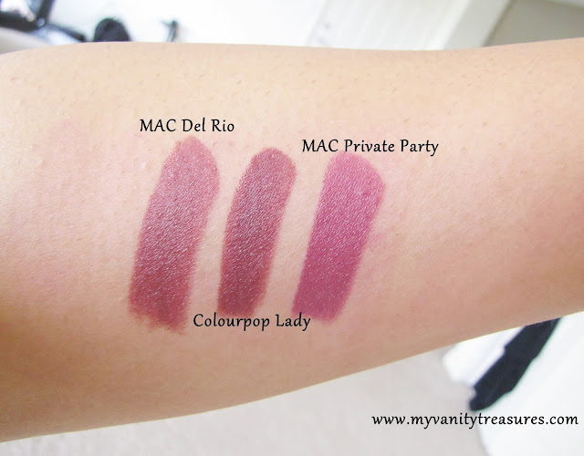 MAC Bad girl riri dupe, Colourpop Lady lippie stix, MAC Del Rio dupe, MAC Del Rio Swatch, MAC Del Rio lipstick, MAC Private Party dupe