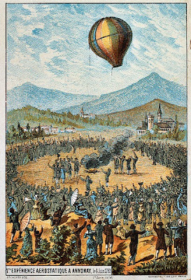 Illustration of the Montgolfier flight