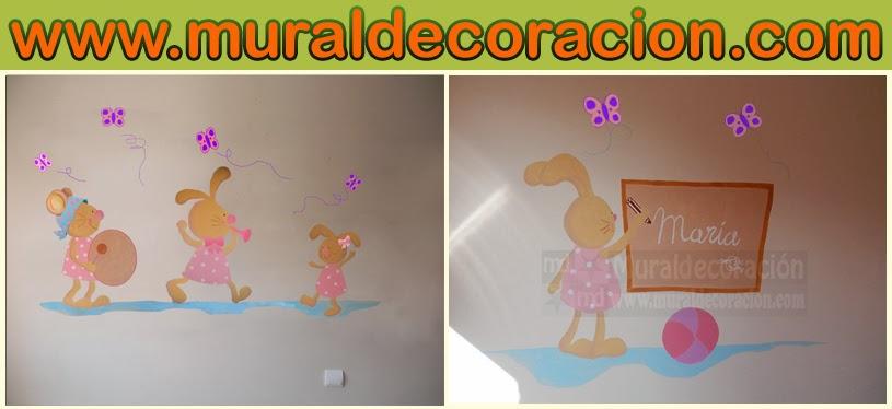 Murales infantiles conejitos y ratones