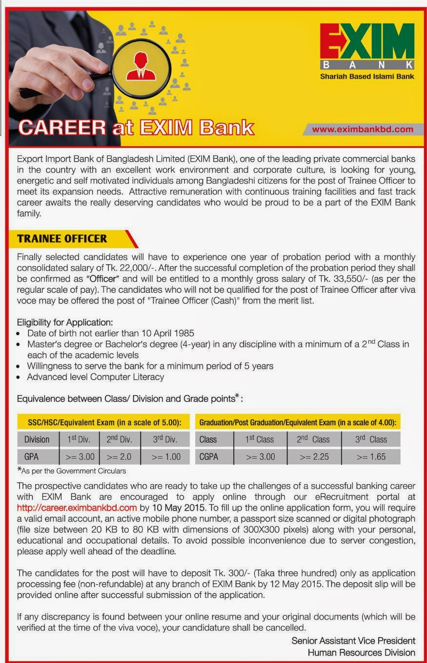 Organization: EXIM Bank Limited, Post: Trainee Officer