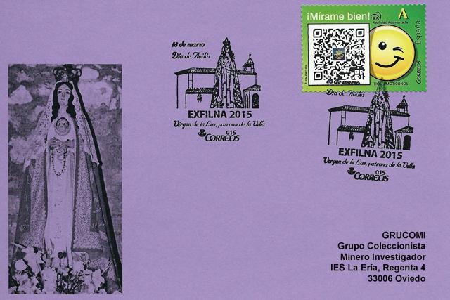 Tarjeta de Grucomi con el matasellos de la Virgen de la Luz