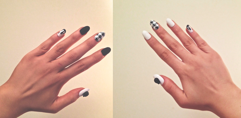 monochrome false nails