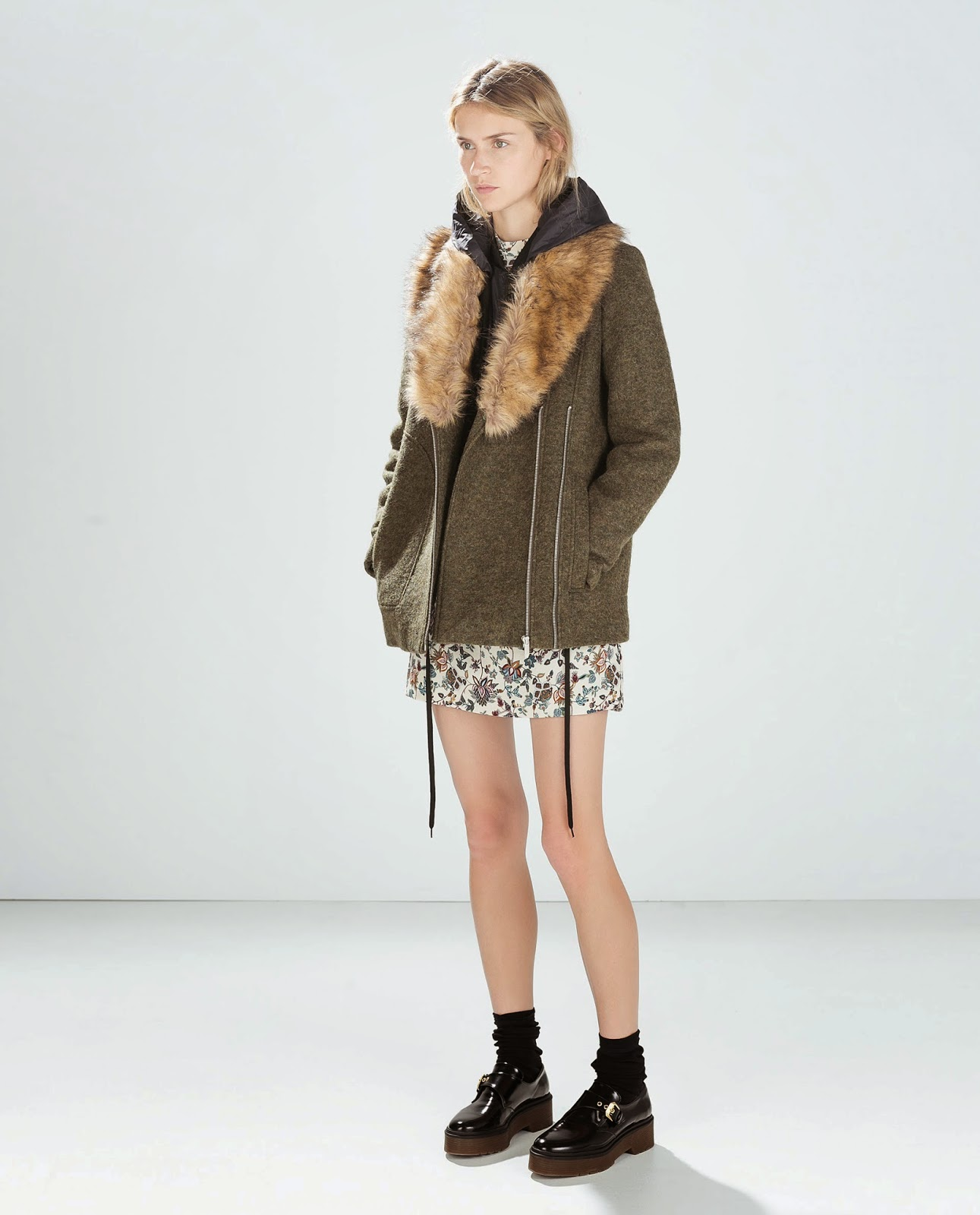 zara coat fur collar