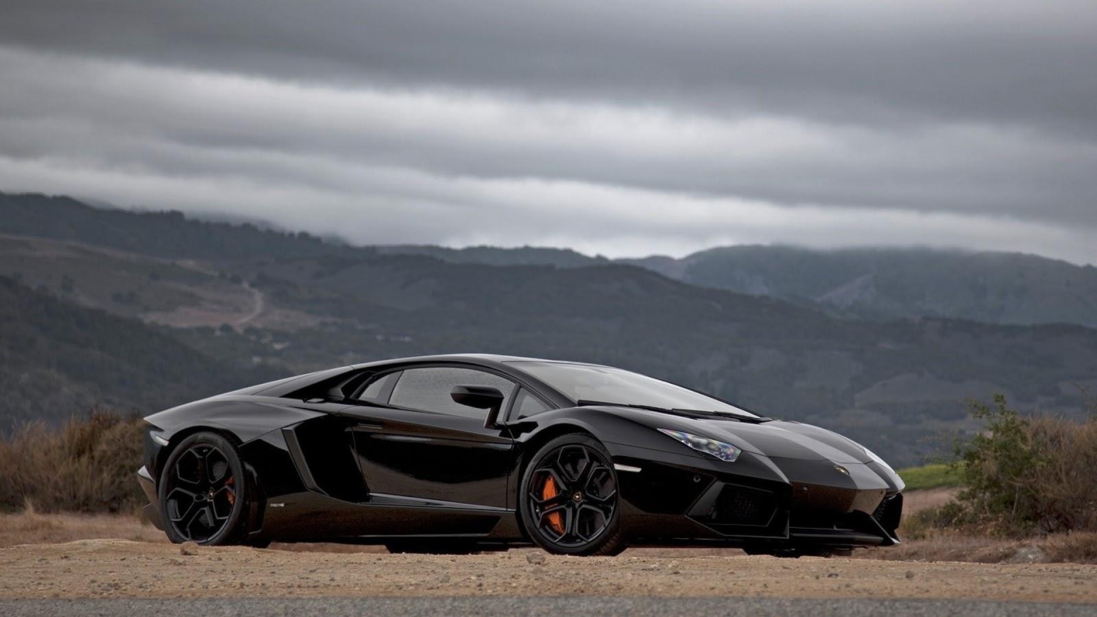 Black Lamborghini Aventador Wallpaper on Mountain