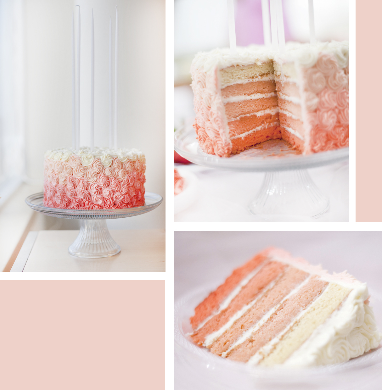 I Made A Peach/pink Colored Cake With Different Shades Of Cake Layers And  Frosting. Then 12u0027u0027 White Candles Topped It Off. The Best Part Was That It  Also ...