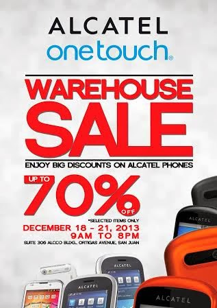 alcatel warehouse sale december 18 21 2013