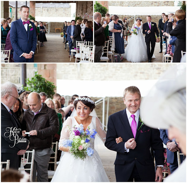 bride walking down aisle, high house farm brewery, northumberland wedding, farm wedding, quirky wedding, alternative wedding photography, high house farm, brewery wedding, matfen brewery, matfen wedding, yap bridal boutique, wildflowers, katie byram photography, floral wedding, vintage wedding