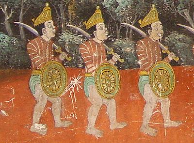 Ramayana mural, 3 soldiers, Silver Pagoda, Phnom Penh, Cambodia