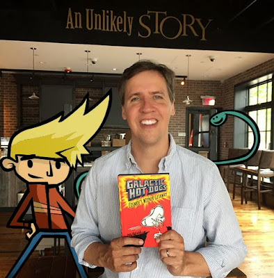 Cosmoe from Galactic Hot Dogs and Jeff Kinney hang out at Jeff's new store, An Unlikely Story!