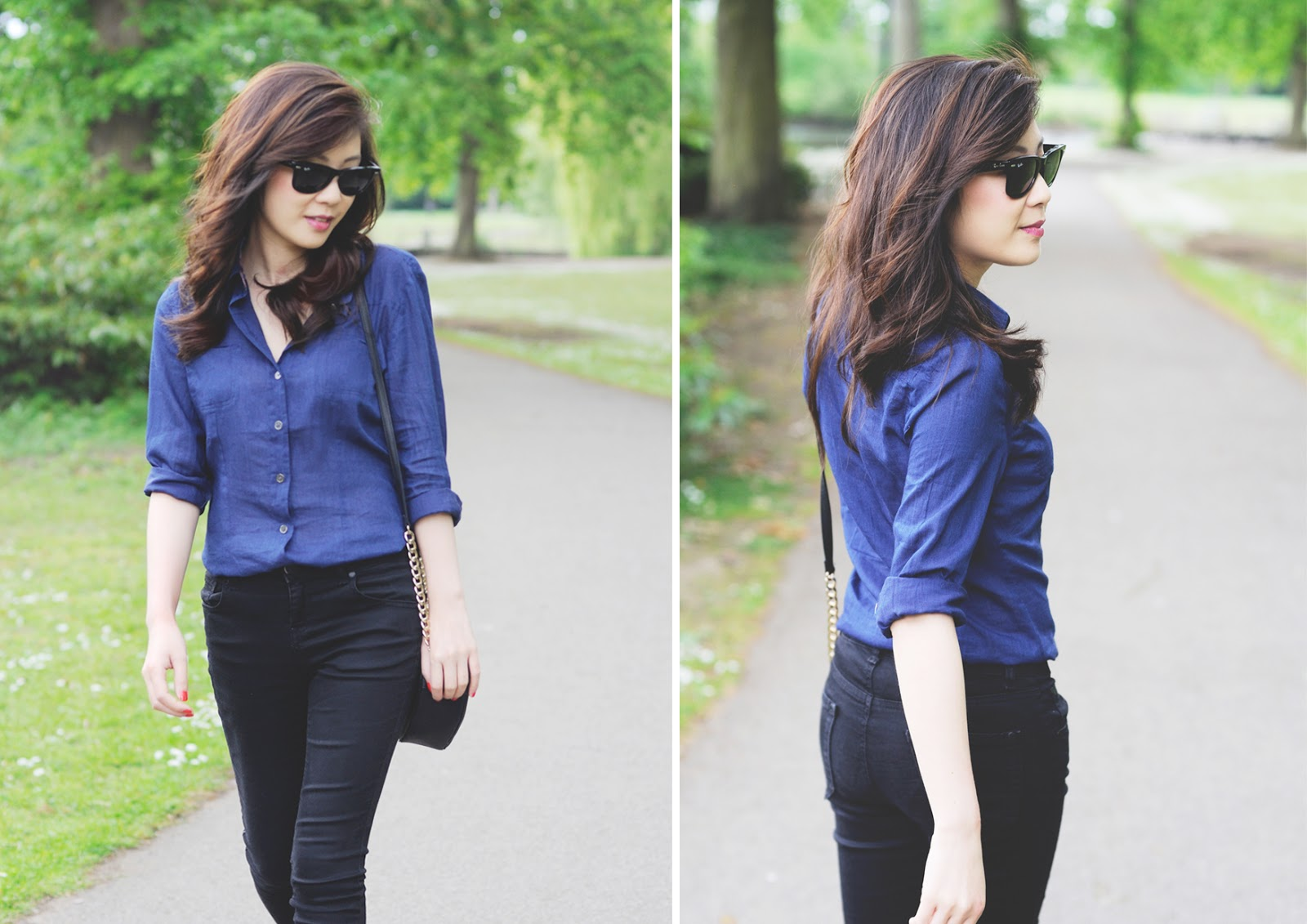 wearing black and blue together