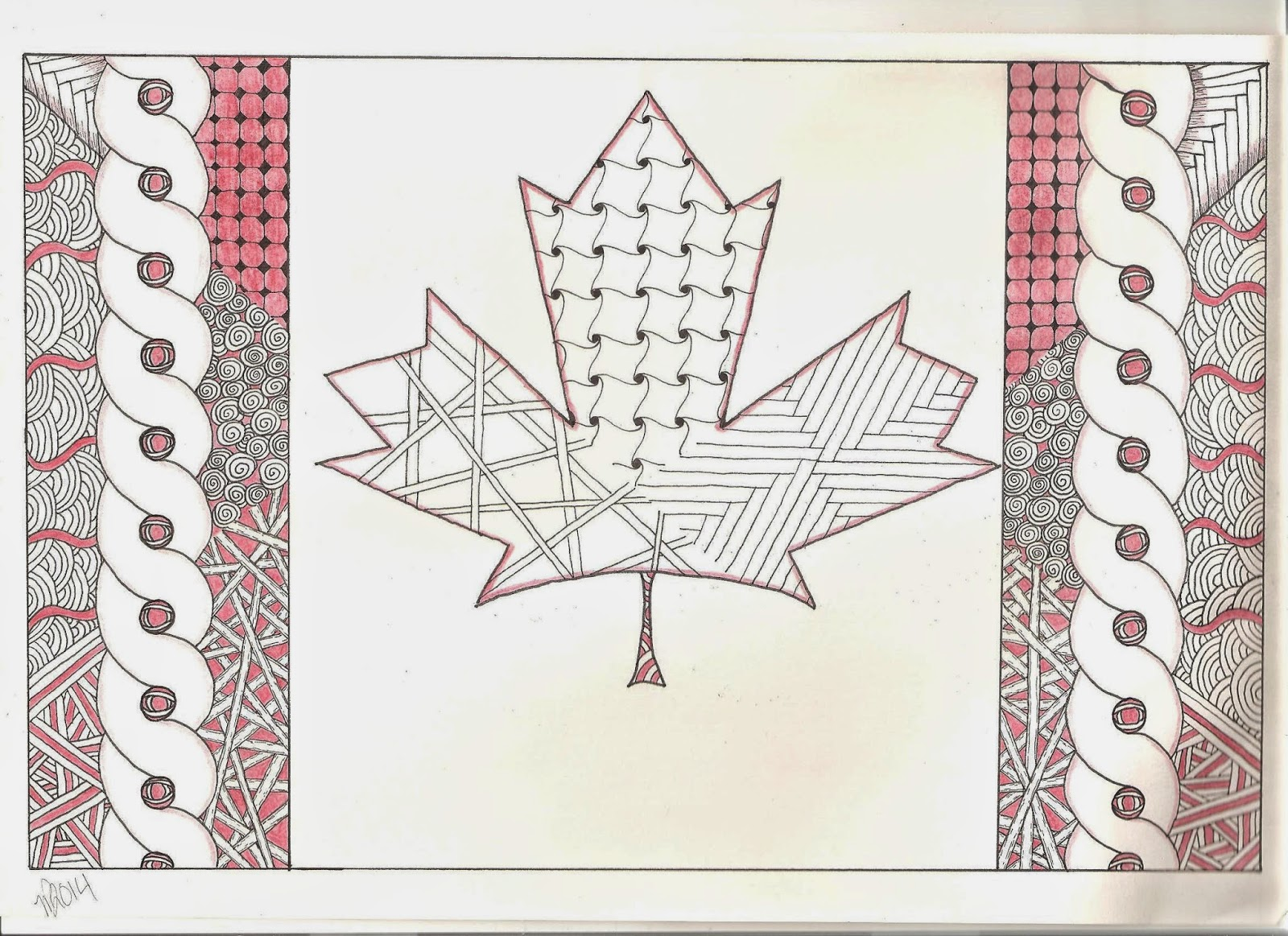 Zentangle Inspired Art Canadian Flag Maple Leaf