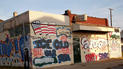 Party store covered in graffiti Detroit