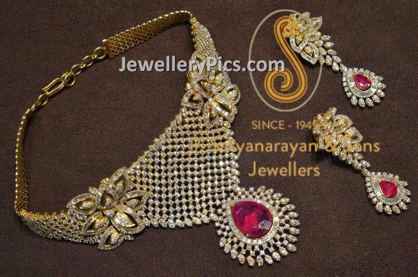 Floral designer diamond choker