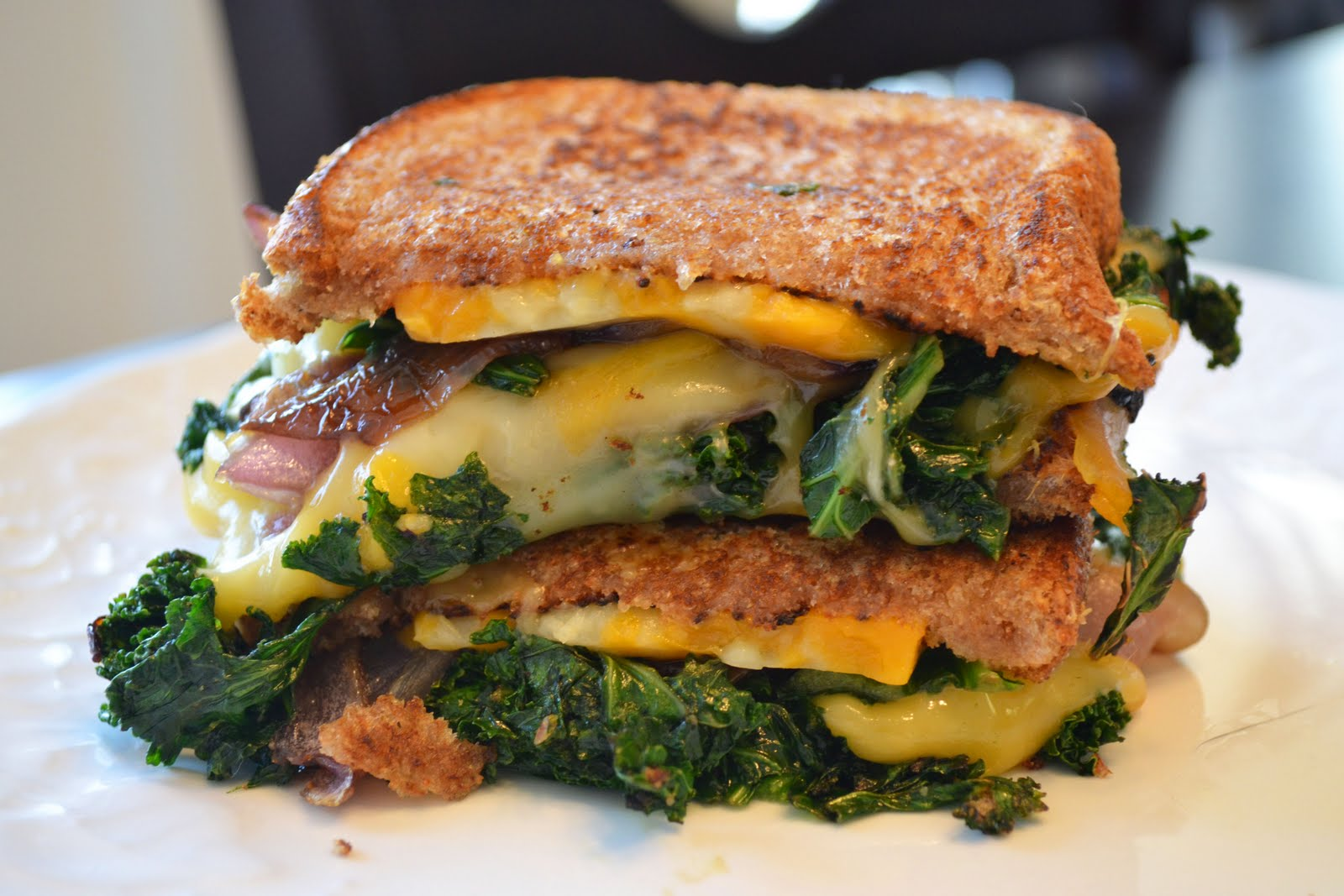 Grilled Cheese with Kale and Caramelized Onions