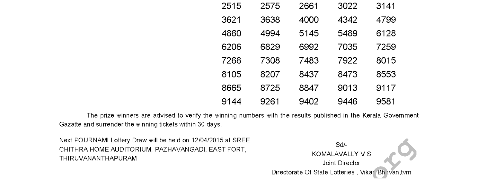 Pournami Lottery RN 179 Result 5-4-2015