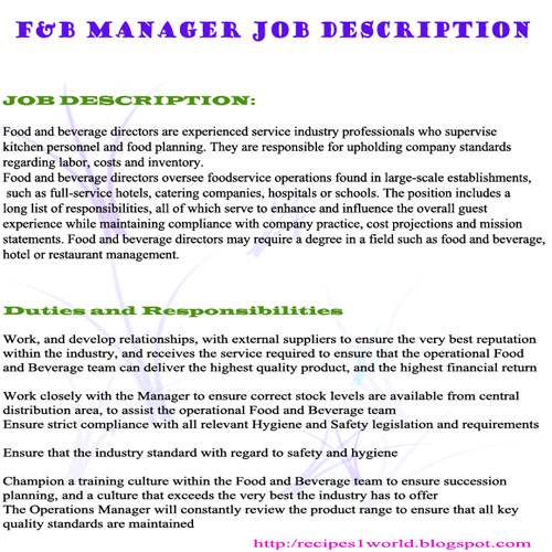 Food And Beverage Manager Job Description Restaurant Manager