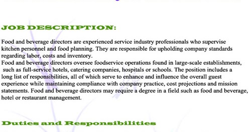 Responsibilities Of Staff In Food And Beverage Management ...