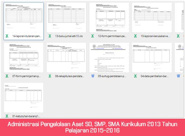 Administrasi Pengelolaan Aset SD, SMP, SMA Kurikulum 2013 Tahun Pelajaran 2015-2016