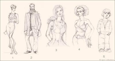 dibujos, bocetos de moda para hombres, mujeres, niños