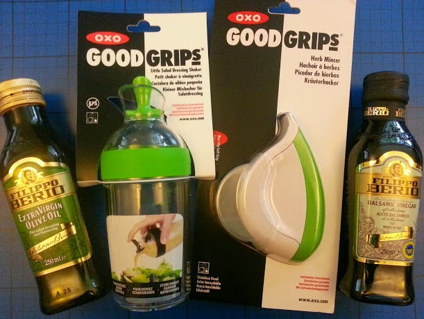 Dressing a salad with Oxo Good Grips and Filippo Berio