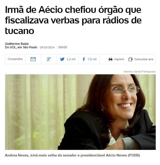 Nepotismo: Irmã de Aécio Neves chefiou órgão que fiscalizava verbas para rádios de Aécio