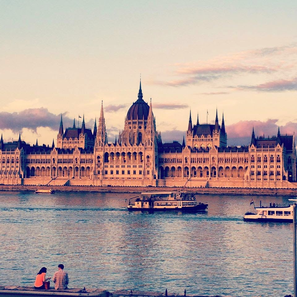 Hungarian Parliament Building with the Danube in the front