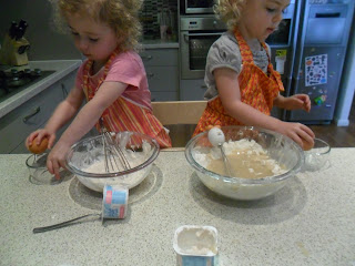 Cracking eggs for the cupcake recipe
