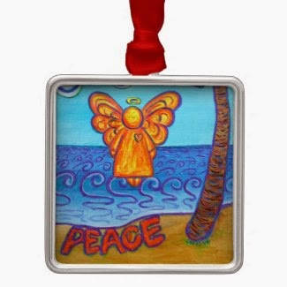Joy and Peace Beach Angel Ornament