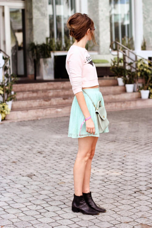 forever 21 new york shirt, mint green skirt, steffy kuncman, miami fashion blog