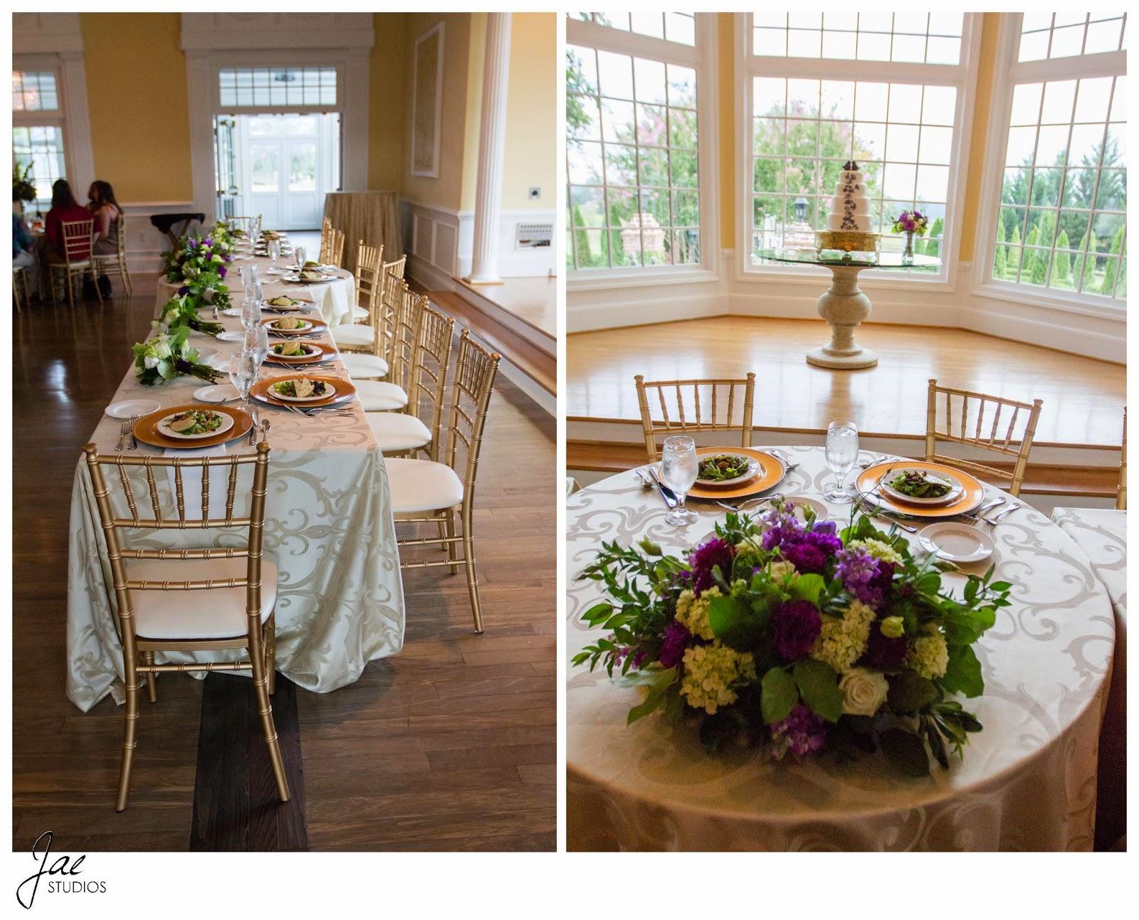 Jonathan and Julie, Bird cage, West Manor Estate, Wedding, Lynchburg, Virginia, Jae Studios, table, flowers, purple, green, cake, chairs, wedding party, windows