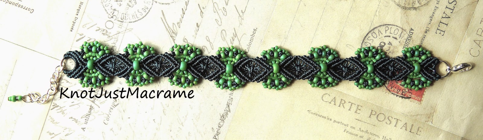 Hydrangea Micro Macrame Bracelet done in green with marina.