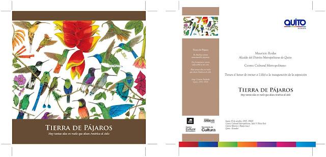 Cartel e invitación de la exposición TIERRA DE PÁJAROS Centro Cultural Metropolitano de Quito Diego Ortega Alonso artista invitado