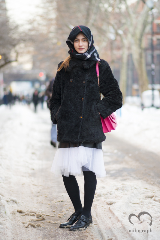 Model Marine Deleeuw at New York Fashion Week NYFW