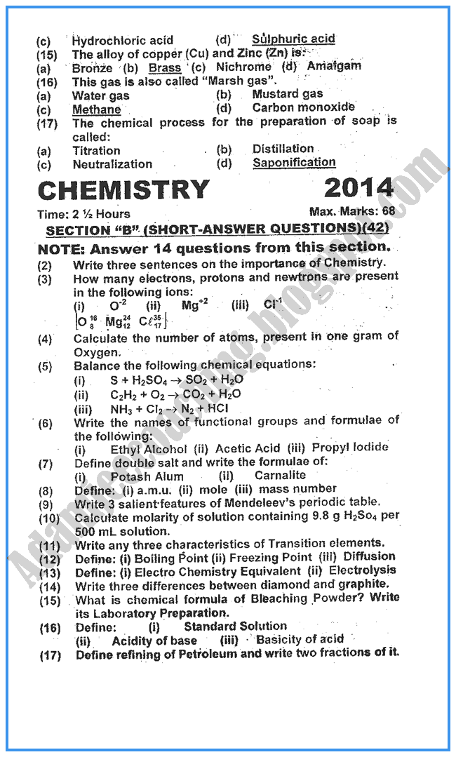 Chemistry Past Year Paper 2014